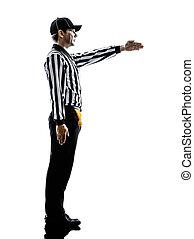amerikaan voetbal, scheidsrechter, gebaren, eerst omlaag,...
