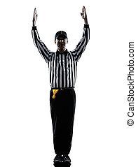 amerikaan voetbal, scheidsrechter, touchdown, gebaren,...