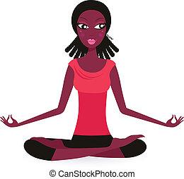 amerikaan, vrijstaand, -, vrouwlijk, afro, beoefenen, yoga ...