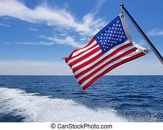 amerikaan, waken, vlag, scheepje