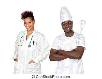 amerikaan, werkmannen , afrikaan