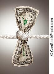 amerikaanse dollar, gebonden, in, koord