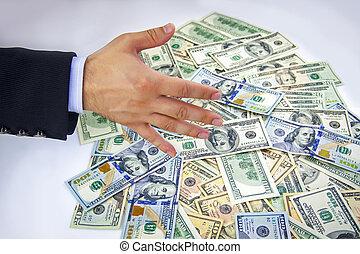 amerikaanse dollars, handen