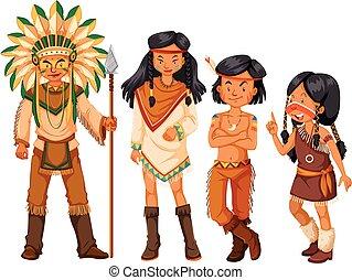 amerikaanse indianen, groep, kostuum, inlander