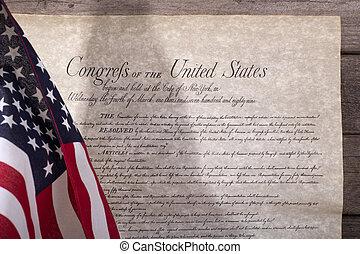 amerikaanse vlag, en, de, rekening van rechten