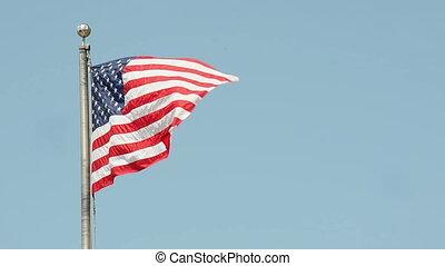 amerikaanse vlag, in de wind