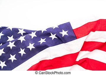 amerikaanse vlag, op wit, achtergrond, .