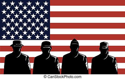 amerikaanse vlag, strepen, sterretjes, soldaten