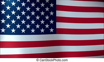 amerikaanse vlag, vertragen, waving., dichtbegroeid boven, van, amerikaanse vlag, waving.