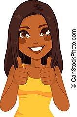amerikaanse vrouw, op, afrikaan, duimen