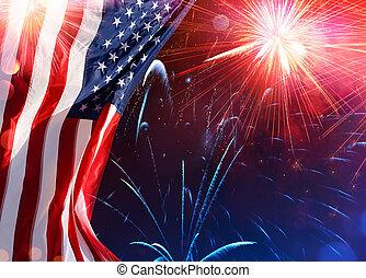 amerikai, ünneplés, -, usa lobogó