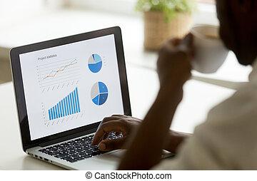 amerikai, afrikai, terv, statisztika, dolgozó, üzletember
