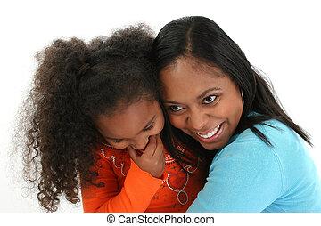 amerikai, anya, lány, ölelgetés, afrikai