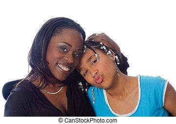 amerikai, anya, lány, mosolygós, afrikai