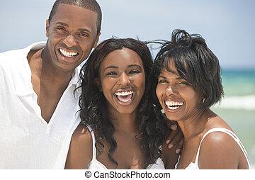 amerikai, boldog, tengerpart, család, afrikai
