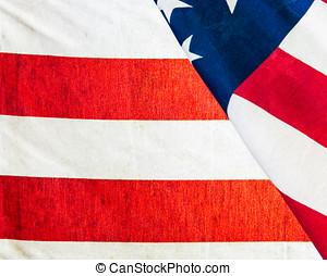 amerikai, closeup, lobogó, szakasz