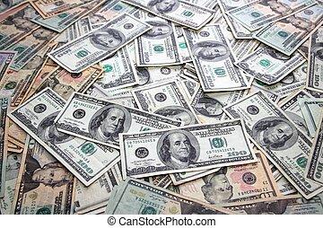 amerikai dollár, part hangjegy, sok, banknotes, műsorra tűz