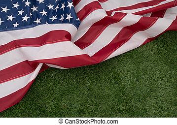 amerikai, fű, zöld lobogó