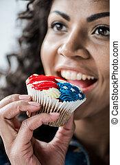 amerikai, falat, leány, cupcake