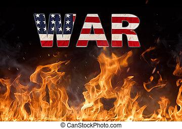 amerikai, fogalom, grunge, lobogó, háború