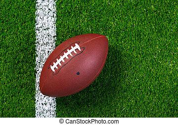 amerikai futball, képben látható, fű, alapján, above.