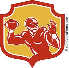 amerikai futball, pajzs, hátvéd fociban, retro