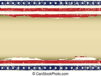 amerikai, horizontális, lobogó, koszos
