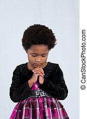 amerikai, imádkozás, leány, afrikai