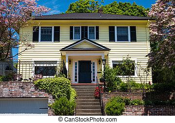 amerikai, kézműves, épület, noha, lépcsőzetes vízszintes deszkaburkolat ház falán, szerkesztés