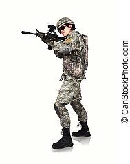 amerikai, karabély, katona