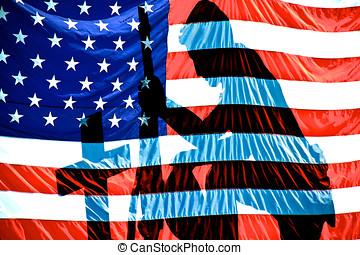 amerikai, katona, és, lobogó