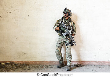 amerikai, katona, őrzés, közben, hadi, műtét