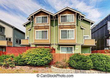 amerikai, kettős, épület, helyett, két, families., zöld, külső, festék
