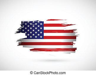 amerikai, kreatív, lobogó, loccsanás, tervezés, tinta