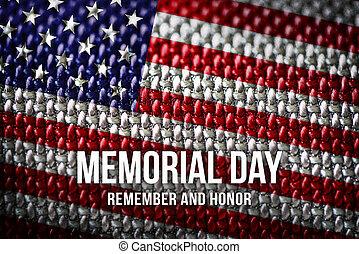 amerikai, memorial lobogó, háttér, nap