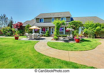 amerikai, ország, tanya, fényűzés, épület, noha, porch.