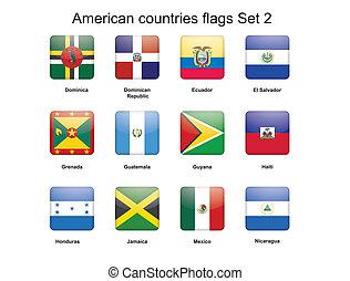 amerikai, országok, zászlók, állhatatos, 2