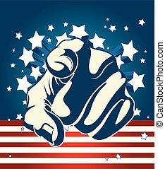 amerikai, starburst, mutatóujj