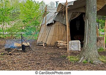 amerikai, táborhely, bennszülött