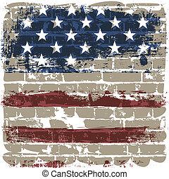 amerikai, tégla, lobogó, ellen, wall.