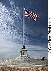 amerikai, temető, lobogó, nemzeti