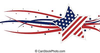 amerikai, themed, csillag, és, kavarog