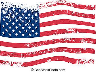 amerikai, vektor, lobogó