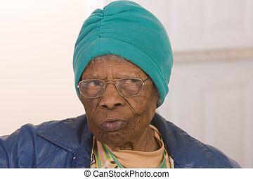 amerikan, afrikansk, äldre medborgare