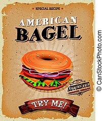 amerikan, bagel, mellanmål, affisch