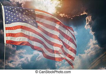 amerikan flagga, flygning, över, vacker, solnedgång, soluppgång, med, skyn