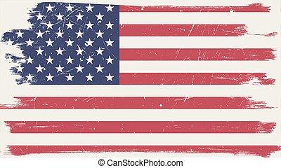 amerikan flagga, med, grunge, ram