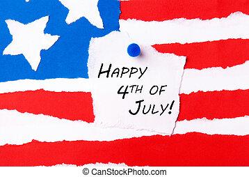 amerikan flagga, med, lycklig, 4 av juli