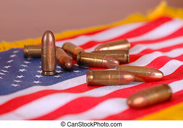 amerikan flagga, med, projektiler