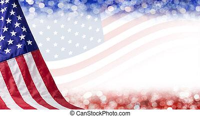 amerikan flagga, och, bokeh, bakgrund, med, avskrift tomrum,...